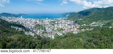 Panorama Landscape Nature View From Drone Aerial View Of Patong Bay In Phuket Thailand Amazing High