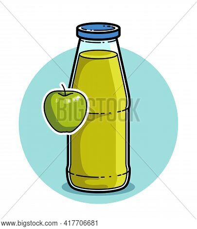 Green Apple Juice In A Glass Bottle Isolated On White Background Vector Illustration, Cartoon Style