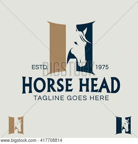 Horse Head Letter H Symbol In Negative Space Style. Like A Stable Doors In Between As The Shape Of L