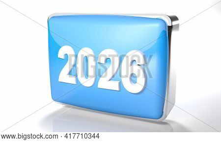2026 Glossy Blue Box On White Background - 3d Rendering Illustration