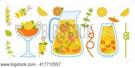 Orange Cocktail Cartoon Set, Lemon, Jug And Glass. Citrus Drink Tea In Transparent Teapot With Ingre