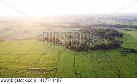 Aerial Photographs Of Drones Rural Green Farmland.