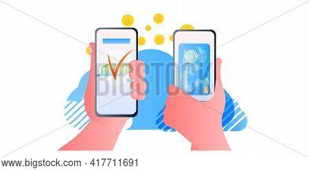 Human Hands Sending Dollar Coins Via Smartphones Online Money Transfer Payment Financial Transaction