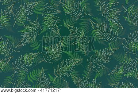 Green Fern And Golden Lines Background, Seamless Pattern With Fern, Green And Gold Fern Leaves Patte