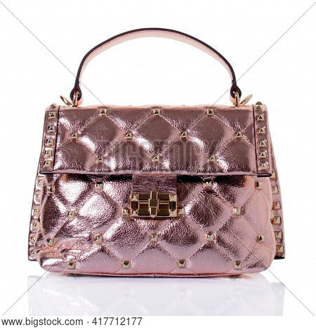 Women's Handbag Made Of Genuine Leather In Pink Color With A Metallic Effect. Model With One Handle,