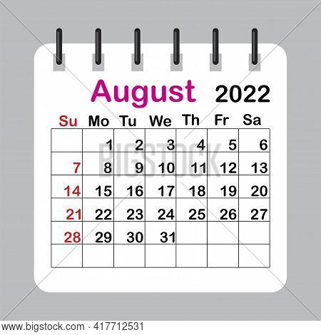 August 2022. Editable Calendar Page Template. Wall Calendar. Editable Calender Page Template. Vector