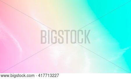 Cloud Pink, Blue, Orange Rainbow Sky Pastel Abstract Gradient Blurred. Soft Focust Canopy Pink, Blue