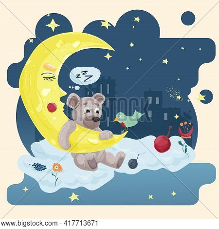 Illustration Sticker In Childrens Flat Cartoon Style For Childrens Bedroom Design Decoration, Little
