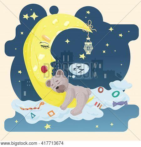 Illustration Sticker In Childrens Flat Style Cartoon For Childrens Bedroom Design Decoration, Little