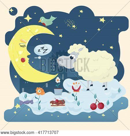 Illustration Sticker In Childrens Flat Cartoon Style For Childrens Bedroom Design Decoration, A Litt