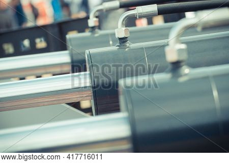 Piston Or Actuator As Part Of Industrial Hydraulic And Pneumatic Mechanism In Machine. Engineering A