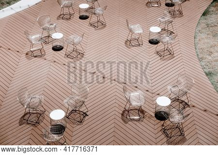 Cafe And Restaurant Empty Outdoors Seating Chair During Lockdown Covid-19 Situation. Business Food S