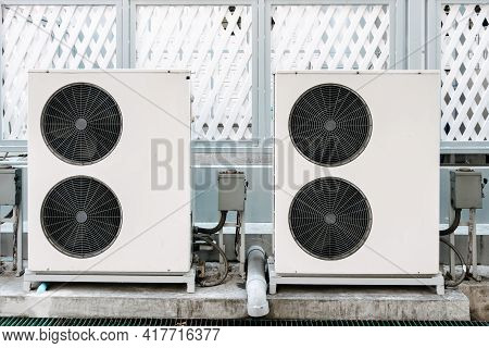 Cooling Air Condition Unit And Control System, Air Condenser Engine Station Outside Building Of Hvac