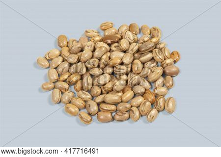 Heap Of Dry Pinto Bean Seed On White Background In Top View