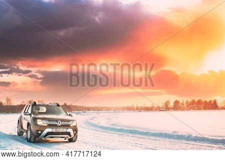 Gomel, Belarus - January 10, 2019: Car Renault Duster Or Dacia Duster Suv Parked On Winter Snowy Fie