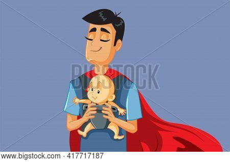 Superhero Father Holding Baby In Carrier Vector Illustration