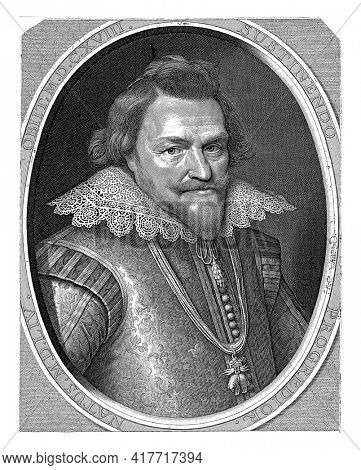 Portrait of Filips Willem in an oval with edge lettering. In the bottom margin five lines of Latin text.