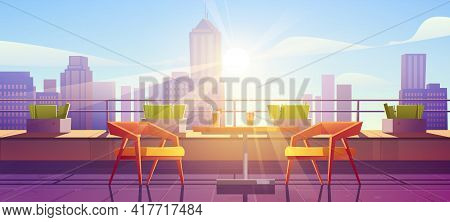 Restaurant On Terrace On Rooftop With City View. Empty Patio On Roof Or Balcony With Cafe Furniture,