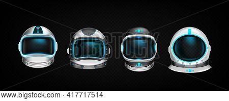 Astronaut Helmets, Cosmonaut Space Suit Front View Isolated Mockup On Black Background. Pilot Costum