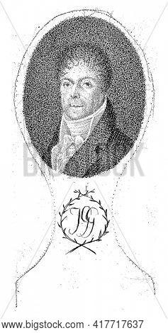 Portrait of J. Gazal, in oval with monogram JGG