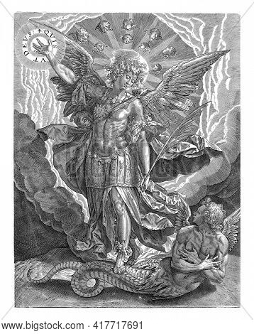 The archangel Michael in armor tramples on Satan, in his half-human form and as a snake, and points to a halo of light with the spell