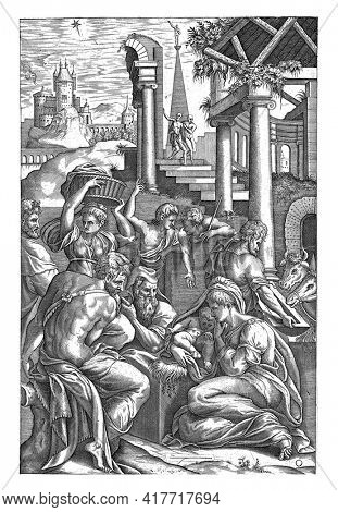 At the base of a classical building, the shepherds worship the Christ Child, held by Mary, who sits on the ground. To the left of the Child, also seated, Joseph with his staff