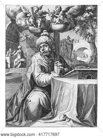 Zacchaeus, on his knees praying before a table with a book on it. In the background two scenes from the life of Zacchaeus, a tax collector: on the right, Christ addresses him while sitting in a tree