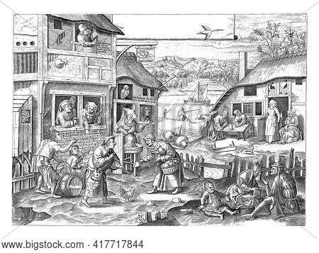 Village with the depiction of Flemish proverbs about laziness. On the left a house with the coat of arms of the Guild of Saint Luke on it. In the window people chase away flies.
