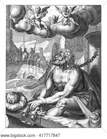Manasseh, shackled to neck, hands and feet near a bridge. Before him lies a crown - a reference to his kingship. In the background a scene from the life of Manasseh