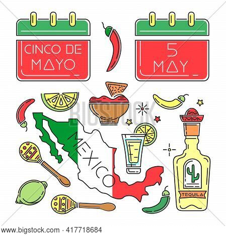 Cinco De Mayo Line Color Icons Set. Symbols Collection For Annual Mexican Celebration. May 5. Holida