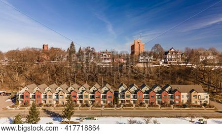 Marquette, MI, USA - Mar 6, 2021: Marquette is the largest city in the Michigan Upper Peninsula with population of about 21,300.