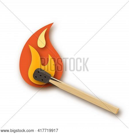 Burning Match, Matchstick With Fire Or Flame. Paper Cut Design. Simple Vector Illustration On A Whit