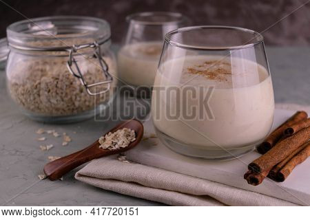 A Nutritious Banana Oat Smoothie With Cinnamon. Close-up.