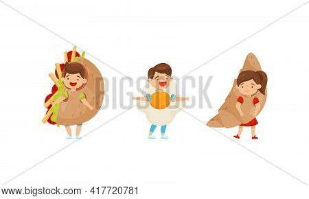 Little Boy And Girl Dressed In Croissant And Scrambled Egg Outfit Enjoying Fancy Carnival Vector Set