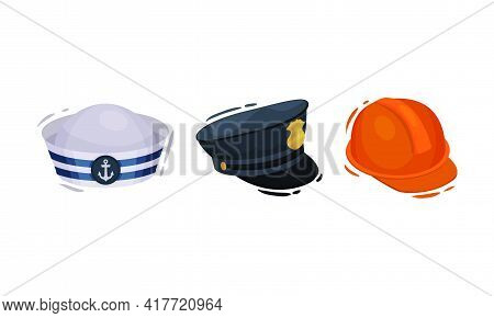 Professional Hats With Safety Helmet And Peaked Cap Vector Set
