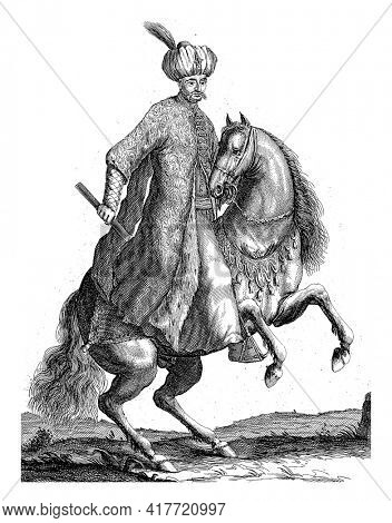 Portrait of Kara Mustafa, Grand Vizier in the Turkish army, on horseback with a command staff in his hand. At the bottom in the margin are name and position in Dutch.