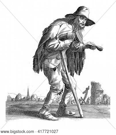 A beggar, flap in hand, leaning on a walking stick, walks past a village and a barn. The print is part of a series of twenty-six prints with beggars and vagrants.