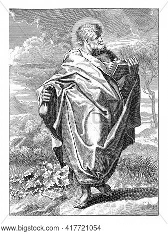 The Apostle Matthew standing in a landscape with a book and a bag of money in his hands. Below the image a reference to Ps. 92 in Latin.