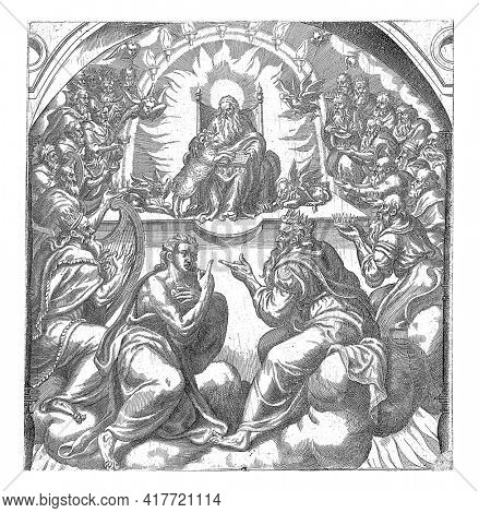In the foreground the apostle John. He points to the heavenly throne with God and the four apocalyptic animals. Above the throne the seven torches that symbolize the seven gifts of the Holy Spirit