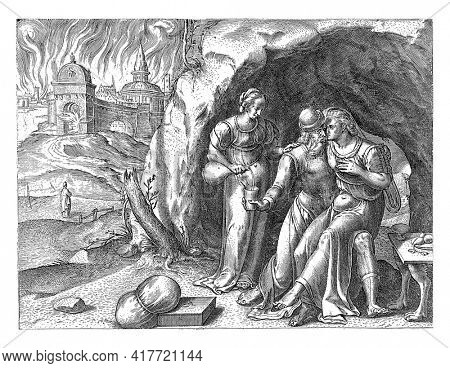 Lot is in a cave with one of his daughters on his lap. His other daughter pours his cup full of wine. In the background the fire of the cities of Sodom and Gomorrah and Lot's wife as a pillar of salt