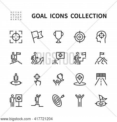 Goal And Target Vector Line Icons. Business Goal. Isolated Icon Collection On White Background. Goal