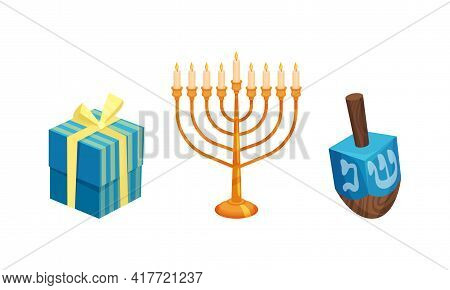 Menorah With Candles And Dreidel As Hanukkah Symbols And Objects For Jewish Holiday Celebration Vect