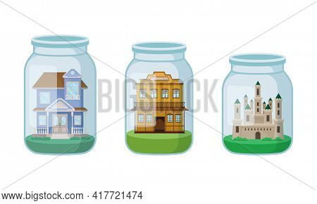 Decorative Castle And Mansion Rested In Glass Jar As Souvenir Vector Set