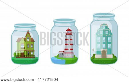 Decorative Mansion And Lighthouse Rested In Glass Jar As Souvenir Vector Set