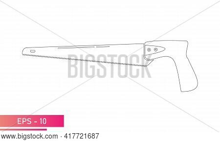 A Small Handy Saw For A Carpenter. Linear Design. On A White Background. Carpenter Tools. Flat Vecto