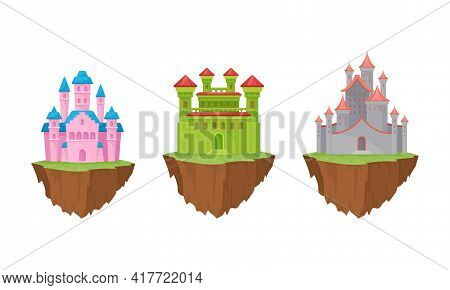 Tall Castle With Towers And Walls As Fortified Middle Age Stone Structure Rested On Floating Rocky I