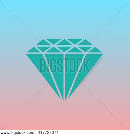 Diamond, Jewelry, Brilliant Color Icon. Gemstone Symbol. Trendy Flat Isolated Sign Can Be Used For: