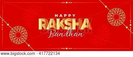 Happy Raksha Bandhan Red Traditional Banner Design