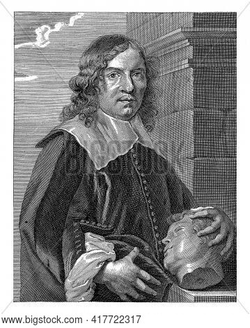 Half-length portrait of the Antwerp sculptor Pieter Verbruggen (I). His left hand rests on a carved head