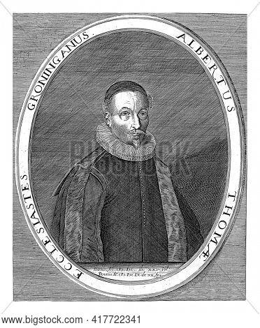 Portrait of Albert Thomae, minister in Groningen.